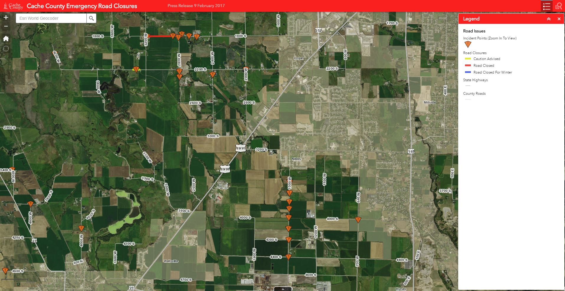Image of the Road Closures Viewer